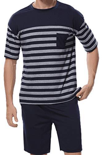 Conjunto De Pijamas para Hombre Ropa De Dormir Casual Conjunto De Pantalones Cortos De Dos Piezas Sblue XS