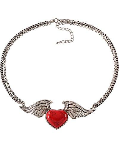 Wrangler Mujer Rock 47Tattoo Art piedra corazón en alas collar plata One...