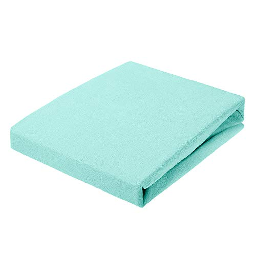 Sábana Bajera de Rizo, tamaño de 90 x 200 hasta 200 x 220 hasta 30 cm, Altura en Muchos Colores, 80% algodón, 200 g/m², Fabricada en UE, Oeko-Tex 100 (Turquesa, 90 x 200 cm)