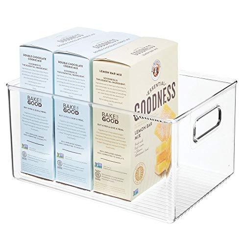 mDesign Aufbewahrungsbox mit Griffen – hohe Kühlschrankbox zur Lebensmittelaufbewahrung – Ablage aus Kunststoff für den Küchen- oder Kühlschrank – durchsichtig