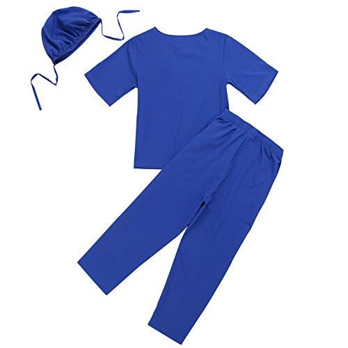 YiZYiF Unisex Mädchen Jungen Arztkostüm Doktor Kostüm Arztkittel Laborkittel für Kinder Arzt-Set Kurzarm Tops+Hosen+Kappe Rollenspiel Cosplay Karneval Blau 128-140