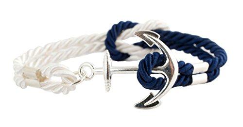 geralin Gioielli Hombre ancla pulsera en plata azul marino blanco natural mano Made