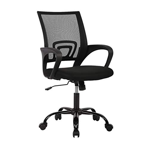LCH Office Chair Ergonomic Desk Chair Mid-Back Big Computer Chair Mesh Swivel Chair with Lumbar Support-Black