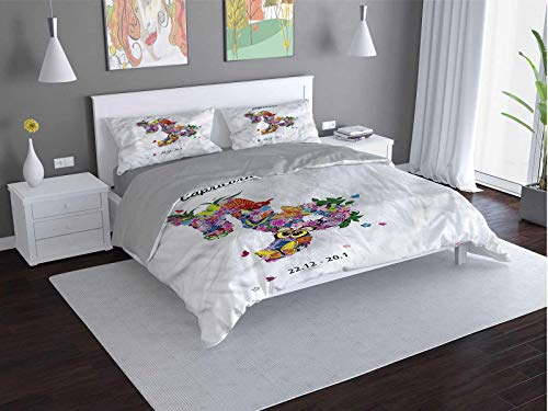 Toopeek Zodiac-Capricorn hotel bed linen Floral-Pattern polyester - soft and breathable (Queen)