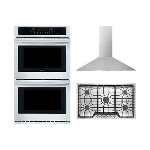 """Frigidaire 3-Piece Kitchen Package With FFGC3626SS 36"""" Gas Cooktop, FFET2726TS 37"""" Electric Double Wall Oven and FHWC3655LS 36"""" Wall Mount Convertible Hood in Stainless Steel"""