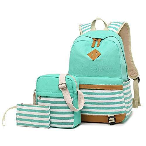Lmeison College Bookbag for Women Girls, Striped Backpack with Shoulder Bag and Pencil Case, Canvas Travel Daypack 15' Laptop Bag Laptop for School, Green