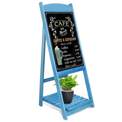 Medla Pizarra de Pie de Madera, Pizarra Publicitaria con Caballete Magnético y Estante de Flores, Estilo Vintage, para Cafetería Restaurante Librería Bar, Color Azul