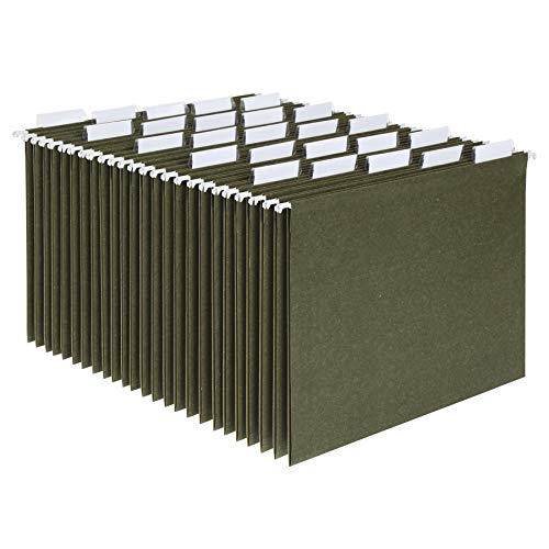 Pendaflex Hanging File Folders, Letter Size, Standard Green, 1/5-Cut Adjustable Tabs, 25 Per Box (81602), Standard Green - 1/5 Tabs