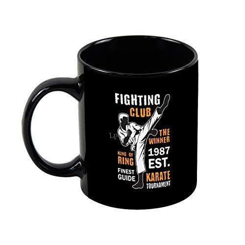 Lplpol Taza negra con plantilla para eventos de Fighting Club, 445 ml, taza de café, taza de té, taza de té, regalo de Navidad, cumpleaños o vacaciones - Tol1066