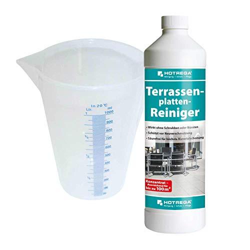 HOTREGA Terrassenplatten-Reiniger 1 L, Messbecher 1 L SET - Für Steine aller Art