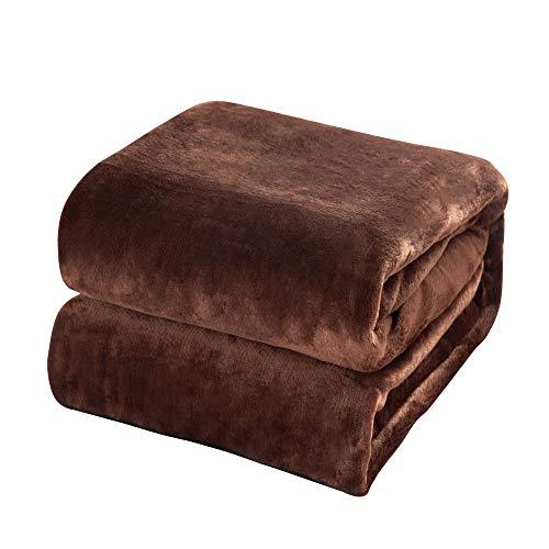 Mantas de Franela 200x230cm Súper Suaves Esponjosas para El Sofá Cama Colcha de Microfibra, Marrón Oscuro
