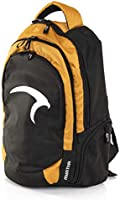 Mintra Challenger Polyester Front-Logo Top-Handle Unisex Anti-Theft Sports Backpack - Black and Apricot Yellow