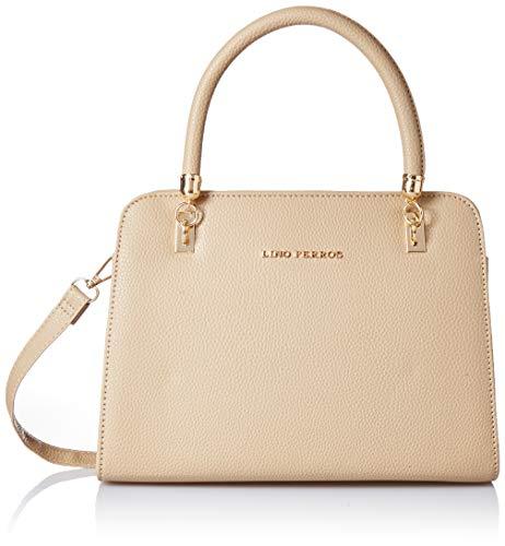 Lino Perros Black Faux Leather Handbag (BEIGE)