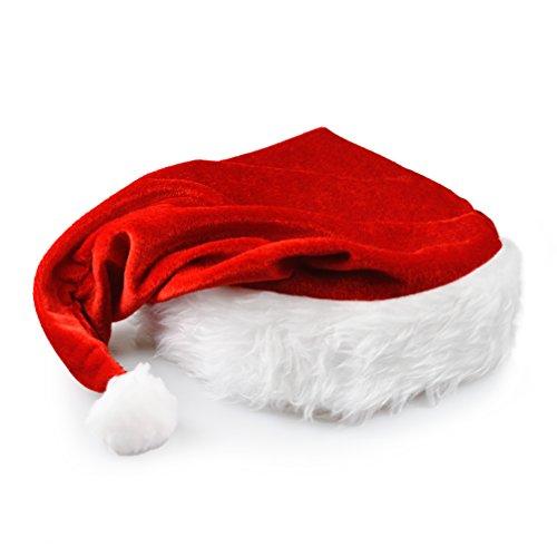 Ganzoo Gorro de Papá Noel con borde de pelo, en rojo y blanco, 10 unidades en juego, gorro de Papá Noel, gorro de invierno