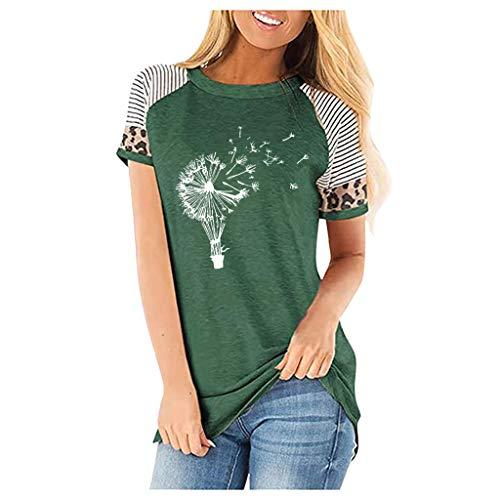 Piabigka Tops Blusa,Maglietta Donna Manica Corta a Blocco Chiffon Sciolto Estate T-Shirt Cime Camicie, Camicia a Maniche Lunghe Ampia da Donna