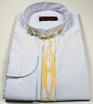 Del Pierro - Camisa Casual - Cuello Mao - Manga Larga - para Hombre
