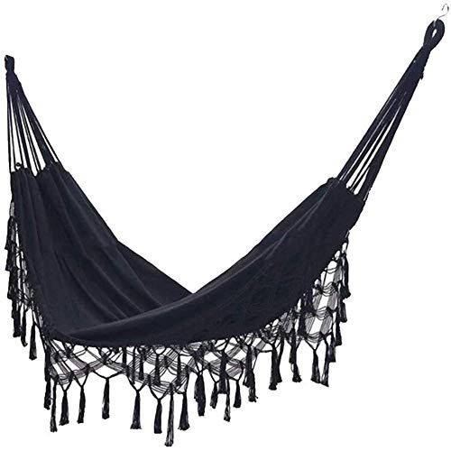 AYZE Fringe 2 Person Double Deluxe Hammock Swing Net Chair for Beach, Yard, Bedroom, Patio, Porch, Indoor, Outdoor, Single Swing Portable Parachute for Outdoor Hiking Mosquito-Proof Black