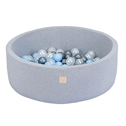 MISIOO Smart Bällebad 90x30 cm Rund für Baby Kleinkinder, hellgrau, mit 150 bunten Bällen