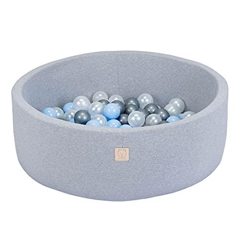 MISIOO Smart Piscina de Bolas 90 x 30 cm Redonda para Niños Pequeños (Gris Claro: plateado-nacarado-azul/150 Bolas)