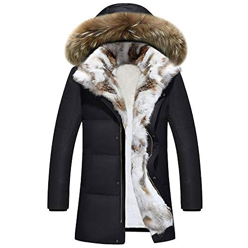 Invierno Temperamento Moda Mujer Larga y Gruesa Chaqueta con Capucha Chaqueta cálida Abrigo con Capucha Larga en Negro