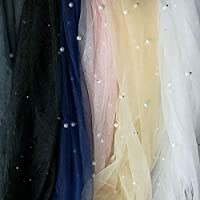 Pearl Beaded Mesh Lace Fabric Shiny Tulle Lace Fabric French Lace trim Diy Wedding Dress Decoration Accessories