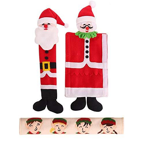 TOPSALE Cubiertas de Manijas de Puerta de Refrigerador de DecoracióN Navide?a Conjuntos de Manijas de Refrigerador de Puerta de Microondas Linda DecoracióN de Navidad