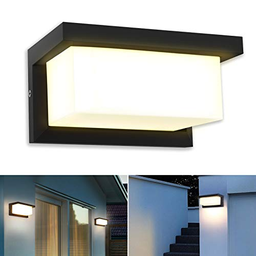 LED Wandleuchte, IP65 Wasserdichte 18W Warmweiß 3000K Aluminium Rechteck Außenwandleuchte Außenlampe für Garten Front Badezimmer Veranda Garage 260x125x125MM