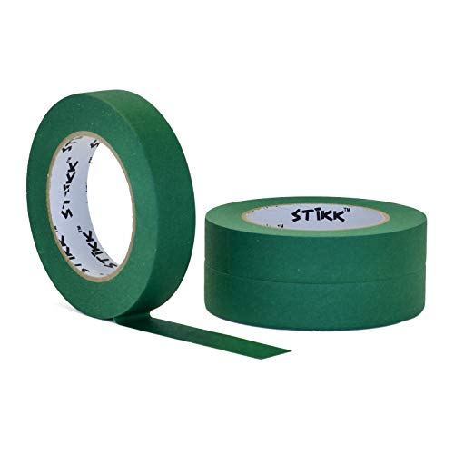 """3 Pack 1"""" inch x 60yd STIKK Forest Dark Green Painters Tape 14 Day Easy Removal Trim Edge Finishing Decorative Marking Masking Tape (.94 in 24MM)"""