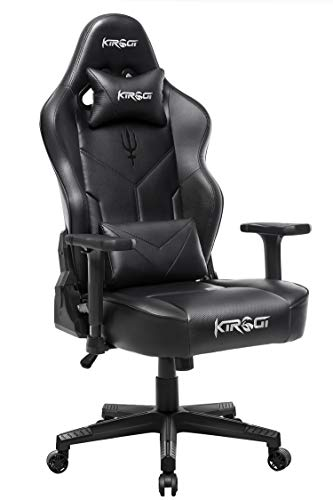 Kirogi Gaming Stuhl Ergonomischer Bürostuhl 160kg, PC Stuhl, Verstellbarer Computerstuhl mit Lendenwirbelstütze, Gamer Stuhl für Erwachsene, schreibtischstuhl großer und hoher.Schwarz-SCJ
