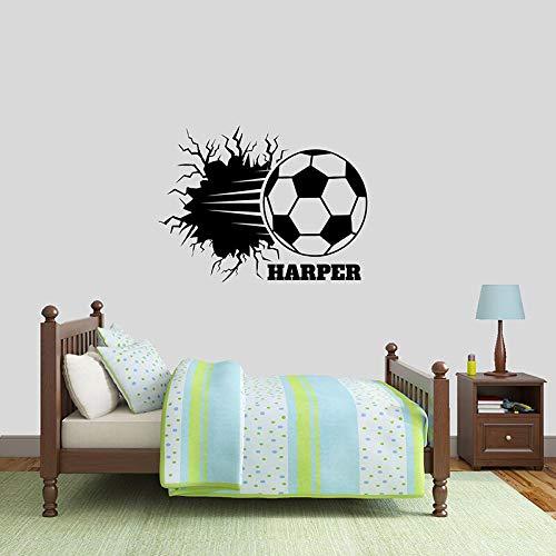 Fútbol sala de niños armario pegatinas de pared de vinilo habitación gente cueva arte de pared desmontable personalidad deportes pegatinas de pared A6 56x42cm