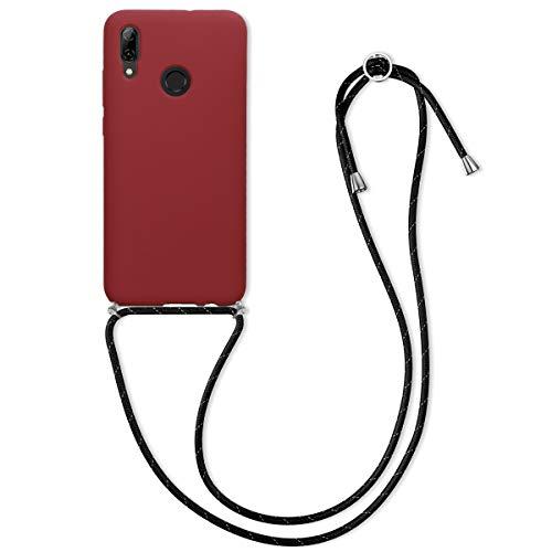 kwmobile Funda con Cuerda Compatible con Huawei P Smart (2019) - Carcasa de Silicona con Colgante - en Rojo Oscuro/Negro