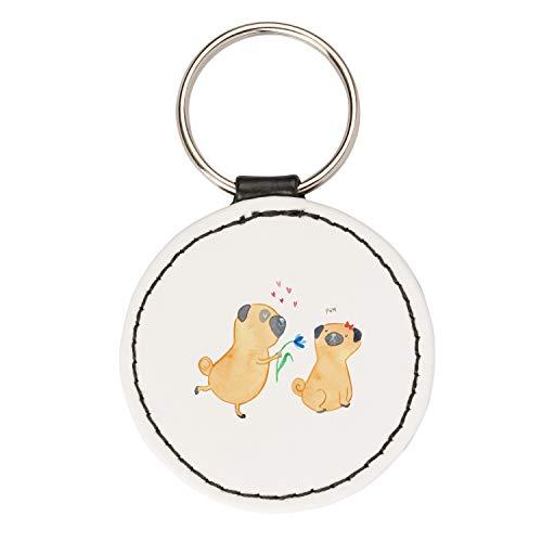 Mr. & Mrs. Panda Taschenanhänger, Glücksbringer, Rund Schlüsselanhänger Mops verliebt - Farbe Weiß