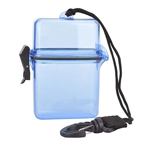 Keenso Caja de Sellado de Buceo, Caja Seca de plástico de 3 Colores Caja de Sellado Transparente Impermeable Caja de Sellado de Buceo bajo el Agua con Gancho de Cuerda(Azul)