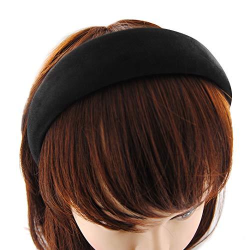 axy Haarreif mit Flanell Haarband Vintage Hairband Stirnband Klassische und modische Haarreifen (Leder Optik) HRK5L (Schwarz)