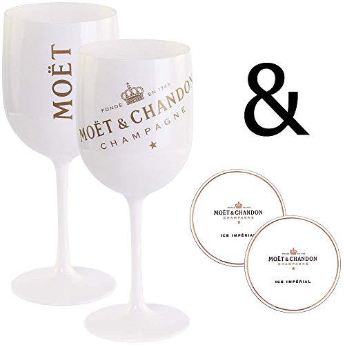 Moët & Chandon Ice Impérial Lot de 2 coupes à champagne en acrylique - 0,45 l - Coupe calice - Blanc/doré Sous-verres (2 pièces) inclus.