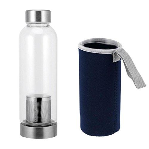 Botella de Agua de Vidrio Ambiental de Calidad de 420 Ml con Funda de Nylon Colorida - Sin BPA - Azul