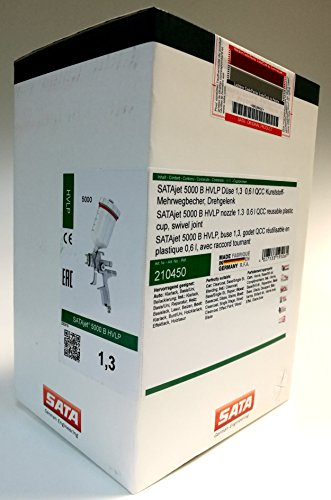 SATA 210450 Lackierpistole SATAjet 5000 B HVLP Düse 1,3 0,6 l QCC Kunststoff-Mehrwegbecher, Drehgelenk
