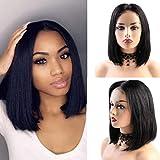BLISSHAIR Peluca de cabello corta bob humano ondulado color negro natural recto peluca para mujeres negras pelo natural con pelo de bebé Densidad del 130% pelo virgen brasileño sin procesar 12 pulgada