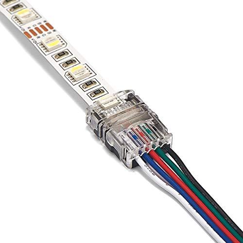 lsc0082 3 Stück professionelle RGBW LED Streifen Verbinder - Kabelverbinder 12mm 5 PIN ohne Löten (IP54 Spritzwasserfest zu Kabel, 12mm RGBW 5 PIN)