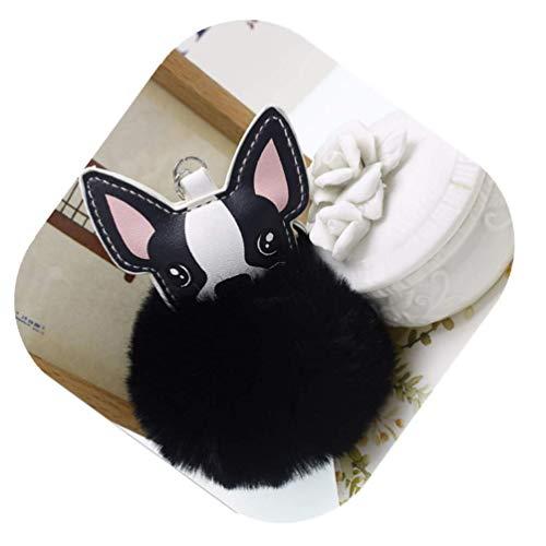 Vedory Fashion Puff Ball Pom Pom Backpack Wallet Keychain Fur Ball Keyring Fluffy Accessories Car Key Ring Charm Birthday Holiday Gift for Girls Women (Puppy black)