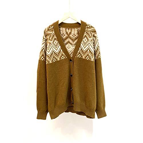 EVFIT Cárdigan de manga larga para otoño e invierno de lana gruesa Jacquard cárdigan de un solo pecho con cuello en V chaquetas de punto para mujer (color: marrón, talla: pequeña)