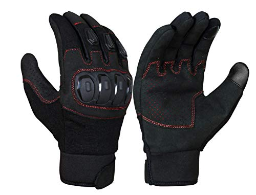 JET Motorcycle Motorbike Gloves Summer Vented Hard Knuckle Touch Screen Street Racing Gloves Men ATV Riding ECCO (M, Black)