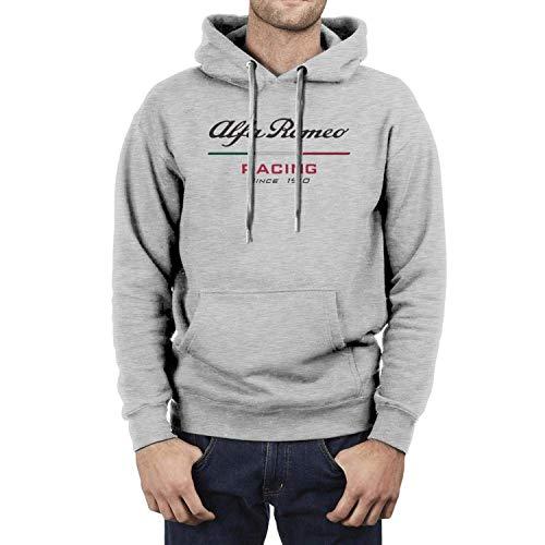 WORKhard9 Mens Casual Hoodies Alfa-Romeo-Car-Logo- Fashion Sweatshirt Long Sleeve Novelty Kangaroo Pocket Classic