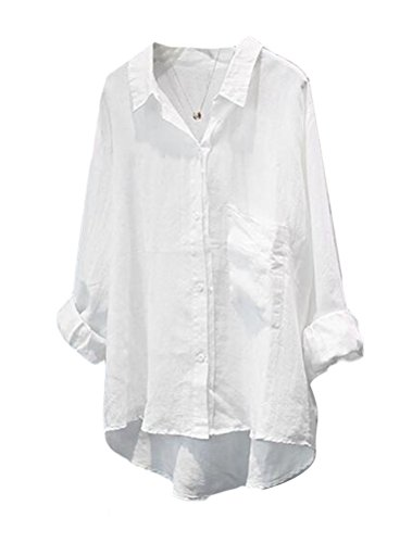 Minibee Women's Casual Cotton Linen Blouse High Low Shirt Long Sleeve Tops (2XL, White)
