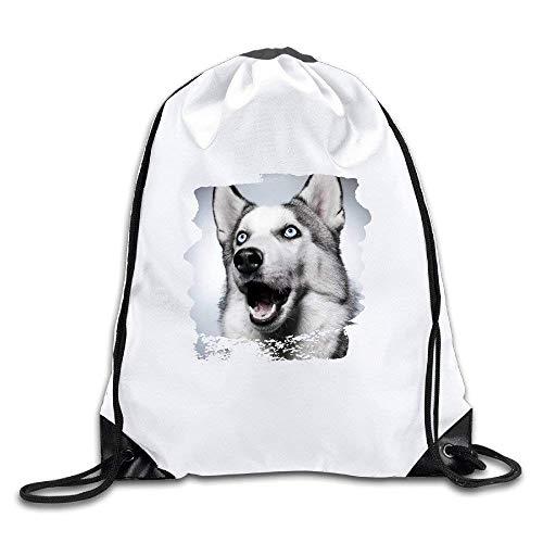 DSGFSQ Sporttaschen Turnbeutel Siberian Husky Balto Dog Face Surprised Drawstring Backpack Bag