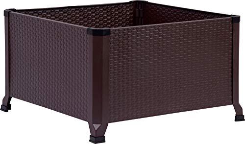 dobar Fioriera quadrata effetto rattan, misura L, in acciaio laminato a freddo, 60 x 60 x 36,8 cm, colore marrone scuro, 60 x 60 cm