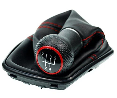 L & P Car Design L&P A251-4 Schaltsack Schaltmanschette Schwarz Naht Rot Schaltknauf 5 Gang 23mm kompatibel mit VW Golf 4 IV Rahmen Schwarz Knauf Plug Play Ersatzteil für 1J0711113