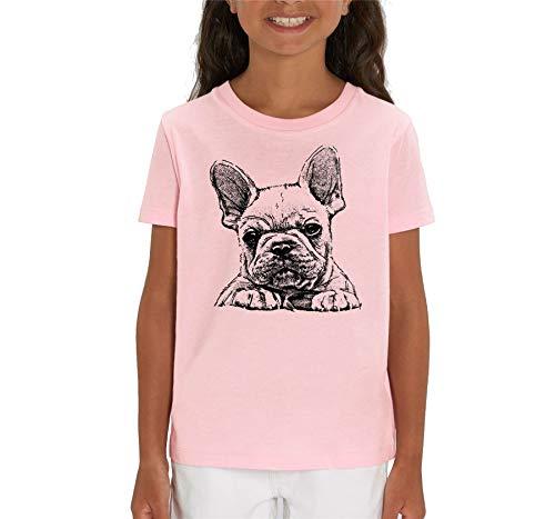 London Co. French Bulldog Frenchie Sketch Print - Maglietta unisex per bambini rosa L