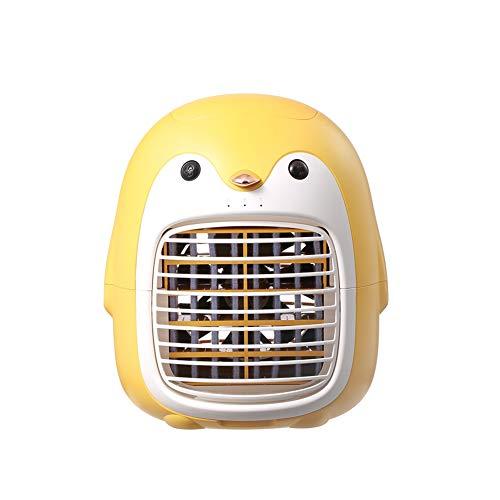 Herbests Ventilador de Escritorio Penguin, Mini Ventilador USB-C Humidificador Purificador de Aire Acondicionado Portátil, Ventilador de Escritorio de Aire acondicionado de 3 Velocidades