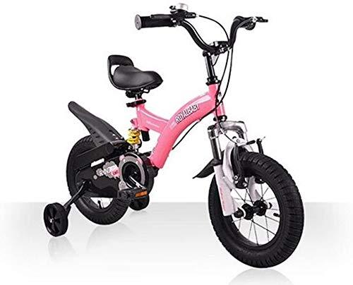 TQJ Cochecito de Bebe Ligero Bicicleta para niños Conveniente, Doble Shock 12/14/16/18 Pulgada 3-6 años de Edad, niños y niñas, Cochecito de Bicicleta cómodo (Color : Red, Size : 14 Inch)